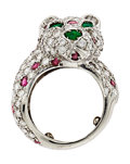 Estate Jewelry:Rings, Diamond, Ruby, Emerald, White Gold Ring. ...