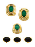 Estate Jewelry:Suites, Black Onyx, Chrysoprase, Gold Jewelry Suite. ...