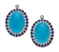 Estate Jewelry:Earrings, Turquoise, Sapphire, Diamond, White Gold Earrings. ...