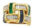 Estate Jewelry:Rings, Sapphire, Emerald, Diamond, Gold Ring, Charles Krypell. ...