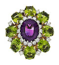 Estate Jewelry:Rings, Amethyst, Diamond, Peridot, Gold Ring. ...