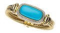 Estate Jewelry:Bracelets, Turquoise, Diamond, Gold Bracelet, David Yurman. ...