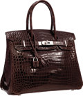 "Luxury Accessories:Bags, Hermes 30cm Shiny Cocoan Porosus Crocodile Birkin Bag withPalladium Hardware. Very Good Condition. 12"" Width x 8""Hei..."