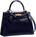 "Luxury Accessories:Bags, Hermes 25cm Shiny Blue Marine Nilo Crocodile Sellier Kelly Bag withGold Hardware. Pristine Condition. 10"" Width x 7"" ..."