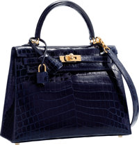 Hermes 25cm Shiny Blue Marine Nilo Crocodile Sellier Kelly Bag with Gold Hardware Pristine Condition