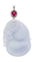Estate Jewelry:Pendants and Lockets, Lavender Jade, Tourmaline, Diamond, White Gold Pendant . ...