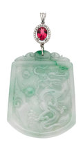 Estate Jewelry:Pendants and Lockets, Jadeite Jade, Tourmaline, Diamond, White Gold Pendant. ...
