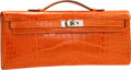 """Luxury Accessories:Bags, Hermes Shiny Orange H Alligator Kelly Cut Clutch Bag with PalladiumHardware. Excellent to Pristine Condition. 12"""" Wid..."""