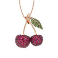 Estate Jewelry:Necklaces, Ruby, Tsavorite Garnet, Pink Gold Pendant-Necklace. ...