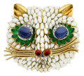 Estate Jewelry:Brooches - Pins, Sapphire, Diamond, Enamel, Gold Brooch. ...
