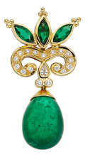 Estate Jewelry:Pendants and Lockets, Emerald, Diamond, Gold Pendant, Paula Crevoshay. ...