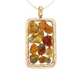 Estate Jewelry:Pendants and Lockets, Fire Opal, Diamond, Gold Pendant-Necklace. ...