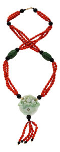 Estate Jewelry:Necklaces, Jadeite Jade, Coral, Black Onyx, Gold Necklace. ...