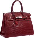 "Luxury Accessories:Bags, Hermes 30cm Matte Rouge H Nilo Crocodile Birkin Bag with PalladiumHardware. Very Good Condition. 12"" Width x 8""Heigh..."
