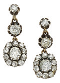 Estate Jewelry:Earrings, Diamond, Silver-Topped Gold Earrings. ...