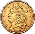 Early Half Eagles, 1834 $5 With Motto, Crosslet 4, BD-2, R.5, XF45 PCGS....