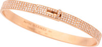 "Hermes 18K Rose Gold & Diamond Kelly PM Bracelet Excellent Condition 1.75"" Width x 2.25"" Length</..."