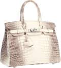 Luxury Accessories:Bags, Hermes 30cm Matte White Himalayan Nilo Crocodile Birkin Bag withPalladium Hardware. Excellent to Pristine Condition....