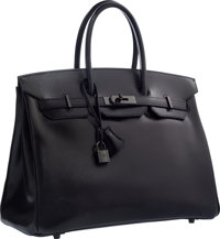 Hermes Limited Edition 35cm So Black Calf Box Leather Birkin Bag with PVD Hardware Very Good to Excellent Condi