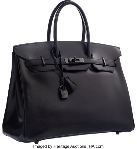Hermes Limited Edition 35cm So Black Calf Box Leather Birkin  6234ff1414f10