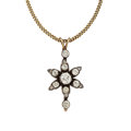 Estate Jewelry:Pendants and Lockets, Diamond, Gold, Silver-Topped Gold Pendant-Necklace. ...
