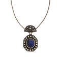 Estate Jewelry:Pendants and Lockets, Sapphire, Diamond, Silver-Topped Gold Pendant-Necklace. ...