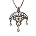 Estate Jewelry:Pendants and Lockets, Diamond, Silver-Topped Gold Pendant-Necklace. ...