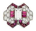 Estate Jewelry:Rings, Art Deco Diamond, Ruby, Platinum Ring, Oscar Heyman Bros.. ...