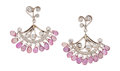 Estate Jewelry:Earrings, Pink Sapphire, Diamond, Platinum, White Gold Earrings, CathyCarmendy. ...