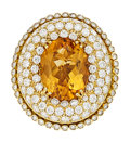 Estate Jewelry:Rings, Citrine, Diamond, Sapphire, Gold Ring, Valente. ...