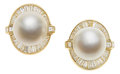 Estate Jewelry:Earrings, South Sea Cultured Pearl, Diamond, Gold Earrings, La Triomphe. ...