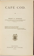Books:Biography & Memoir, Henry David Thoreau. Cape Cod. Boston: Ticknor and Fields, 1865....