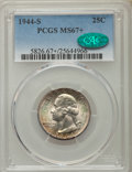 Washington Quarters, 1944-S 25C MS67+ PCGS. CAC. PCGS Population (109/3). NGC Census:(297/1). Mintage: 12,560,000. Numismedia Wsl. Price for pr...