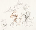 "Animation Art:Production Drawing, Chuck Jones ""Daffy Duck"" Sketch Original Art (Warner Brothers, undated)...."