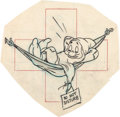 "Animation Art:Production Drawing, Hank Porter ""Sleepy"" WWII Insignia Illustration (Walt Disney, c.1940s)...."