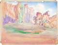 Animation Art:Painted cel background, Popeye the Sailor Meets Sinbad the Sailor Skull Island Painted Background (Max Fleischer, 1936)....