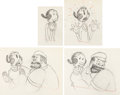 Animation Art:Production Drawing, Popeye the Sailor Man Olive Oyl and Bluto Animation DrawingSequence Group of 4 (Max Fleischer, c. 1930s).... (Total: 4Original Art)