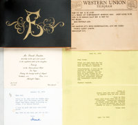 [Frank Sinatra]. Collection of Correspondence from Frank Sinatra to Rod McKuen. 1969-1976