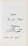 Books:Biography & Memoir, Groucho Marx. INSCRIBED. Beds. Indianapolis/ New York: TheBobbs-Merrill Company, Inc., [1976]....