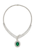 Estate Jewelry:Necklaces, Emerald, Diamond, White Gold Necklace . ...