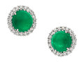 Estate Jewelry:Earrings, Emerald, Diamond, White Gold Earrings, Piranesi. ...