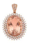 Estate Jewelry:Pendants and Lockets, Morganite, Diamond, Pink Gold Necklace. ...