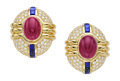 Estate Jewelry:Earrings, Ruby, Diamond, Sapphire, Gold Earrings. ...