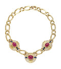 Estate Jewelry:Necklaces, Ruby, Sapphire, Diamond, Gold Necklace. ...