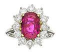 Estate Jewelry:Rings, Burma Ruby, Diamond, Platinum, Gold Ring. ...