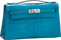 "Luxury Accessories:Bags, Hermes Shiny Blue Izmir Alligator Kelly Pochette Bag with Palladium Hardware. Excellent to Pristine Condition. 8.5"" Wi..."