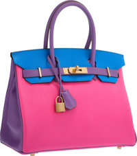 Hermes Special Order Horseshoe 30cm Rose Tyrien, Blue Hydra & Parme Chevre Leather Birkin Bag with Gold Hardware &am...