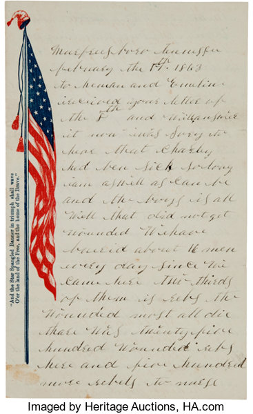 second battle of murfreesboro letter from union soldier lot