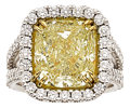 Estate Jewelry:Rings, Fancy Light Yellow Diamond, Diamond, White Gold Ring. ...