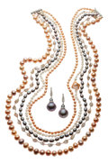 Estate Jewelry:Suites, Freshwater Cultured Pearl, Diamond, White Gold Jewelry Suite, Benji. ...